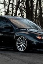 Subaru Impreza carro preto, árvores