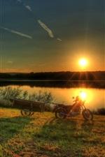 iPhone fondos de pantalla Salida del sol, río, Alemania, Hesse, hierba, árboles
