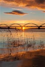 Preview iPhone wallpaper Sweden, Apulia, bridge, river, morning, sunrise, autumn