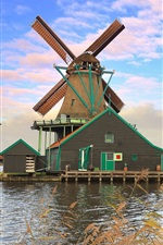 Preview iPhone wallpaper The Netherlands, windmill, river, sky, clouds