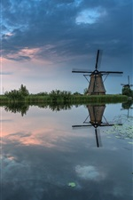 Preview iPhone wallpaper The Netherlands, windmill, river, trees, grass, dusk