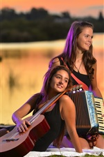 Preview iPhone wallpaper Two girls, guitar, accordion, music
