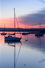 Preview iPhone wallpaper UK, England, Hampshire County, bay, boats, evening, sunset