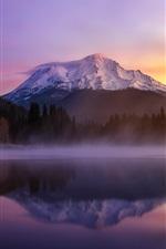 Preview iPhone wallpaper USA, California, mount Shasta, lake, morning, fog
