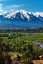 iPhone壁紙のプレビュー アメリカ、コロラド州、山、森、木