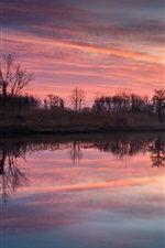 Village, dusk, sunset, sky, clouds, river, water surface, reflection