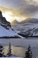 Preview iPhone wallpaper Winter, mountains, snow, Bow Lake, trees, Alberta, Canada