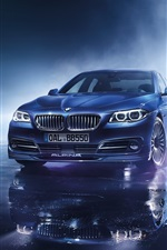 Preview iPhone wallpaper 2015 BMW Alpina B5 limousine, blue car