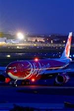 미리보기 iPhone 배경 화면 에어 버스 A330 여객 항공기, 공항, 밤, 도시