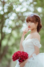 Preview iPhone wallpaper Beautiful asian girl, bride, rose