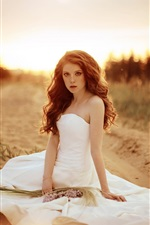 Preview iPhone wallpaper Beautiful bride, girl, white dress, sand, road