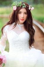 Beautiful bride, white dress girl
