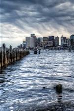 Boston, cidade, EUA, chuva, mar, cerca, edifícios, amanhecer