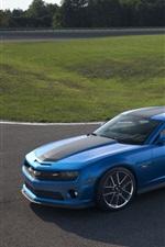 Preview iPhone wallpaper Chevrolet Camaro blue car, road, dusk