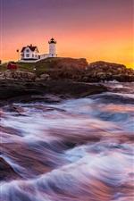 Preview iPhone wallpaper Coast, sea, lighthouse, building, sunrise, rocks, waves