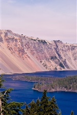 Crater Lake, Oregon, USA, sky, lake, mountain, trees