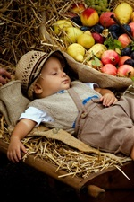 Preview iPhone wallpaper Cute boy sleeping, stroller, fruits