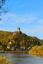 Preview iPhone wallpaper Germany, Cochem Burg, river, city, houses, trees, autumn