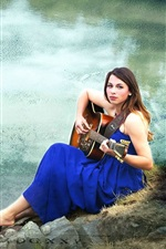 Preview iPhone wallpaper Guitar girl, blue dress, music, pond