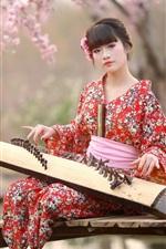 Preview iPhone wallpaper Japan, girl, kimono, music