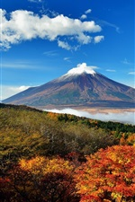 Preview iPhone wallpaper Japan, mount Fuji, sky, trees, clouds, hills, fog