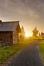 Preview iPhone wallpaper Kizhi, sunset, wood house, road, grass, trees