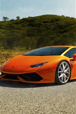 iPhone fondos de pantalla Lamborghini LP640-4 Huracan Diamond Edition, supercar naranja