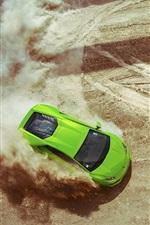 Preview iPhone wallpaper Lamborghini Huracan LP640-4 green supercar, drift, dust