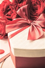 Preview iPhone wallpaper Love, gift, red roses flowers, petals, Valentine's day