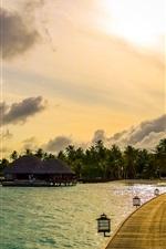 Maldivas, tropical, mar, palmeiras, barcos, ponte, casas