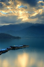 Preview iPhone wallpaper Mountains, bay, ferry, boat, clouds, dawn, water