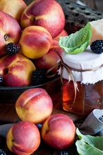 Preview iPhone wallpaper Nectarines, peaches, fruit, berries, cheese, honey, jar