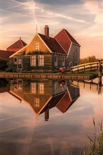 Preview iPhone wallpaper Netherlands, houses, river, bridge, dusk