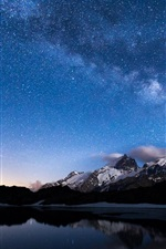 Preview iPhone wallpaper Night, lake, mountains, sky, stars, water reflection