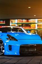미리보기 iPhone 배경 화면 닛산 370Z 파란 차, 빛