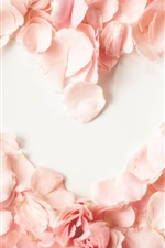 Preview iPhone wallpaper Pink petals, rose, love heart