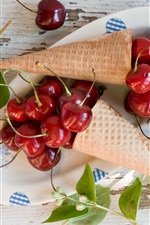 Preview iPhone wallpaper Red cherries, waffles, jasmine