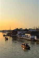Preview iPhone wallpaper River, dawn, boats, houses, town