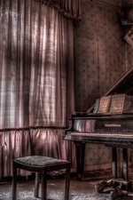 Preview iPhone wallpaper Room, piano, music, dust