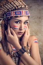 Preview iPhone wallpaper Saipan, makeup, cute girl, feathers, colorful