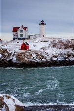 Preview iPhone wallpaper Sea, snow, winter, coast, house, lighthouse