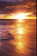 Preview iPhone wallpaper Sea, sunset, waves
