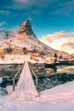 Snow, white, house, winter, river