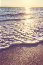 Preview iPhone wallpaper Sunset, beach, sea, coast, waves