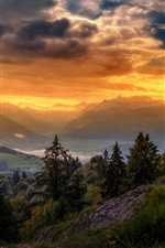 Preview iPhone wallpaper Switzerland, sky, clouds, mountains, trees, sunset
