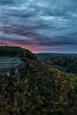 Preview iPhone wallpaper United States, Letchworth State Park, canyon, forest, river, evening