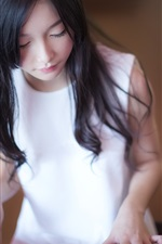 Preview iPhone wallpaper White dress girl, Asian, piano, music