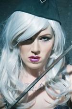 Preview iPhone wallpaper White hair girl, cap, sword