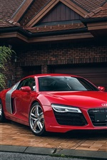 Preview iPhone wallpaper Audi R8 red car, house, garage