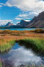 Banff National Park, Alberta, Canada, lake, mountains, trees, grass, bridge
